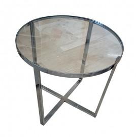 Tavolino tondo in ferro con piano in vetro