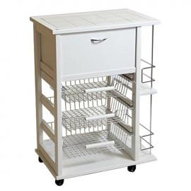 Carrello porta pane e portabottiglie colore Bianco 58x38xh.84 cm
