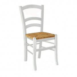 Sedia classica in legno laccato bianco seduta in paglia  41x42xh.88 cm