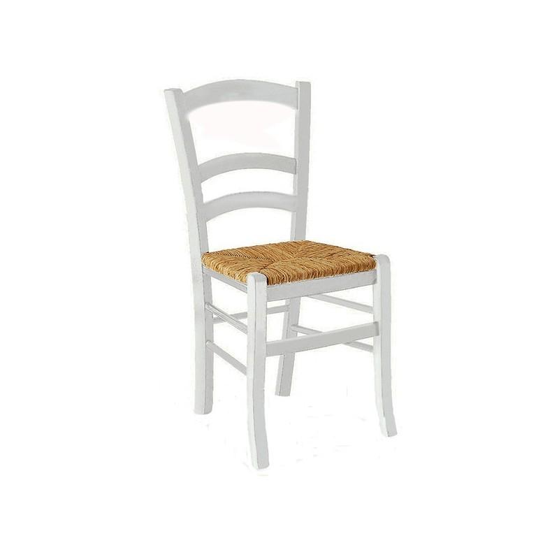 Sedie In Legno Laccate Bianco.Sedia Classica In Legno Laccato Bianco Seduta In Paglia 41x42xh 88 Cm