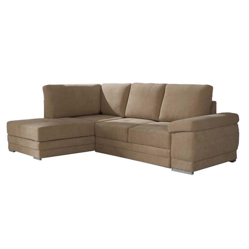 Divano letto angolare tessuto cappuccino penisola sx cm - Divano letto in tessuto ...