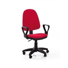 Poltrona da scrivania con braccioli in tessuto rosso h.120x47x44 cm