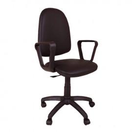 Poltrona da scrivania con braccioli in tessuto nero h.120x47x44 cm