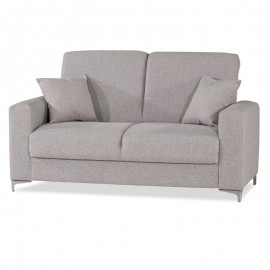 Divano letto 2 posti con contenitore in tessuto grigio chiaro 166x91xh102 cm