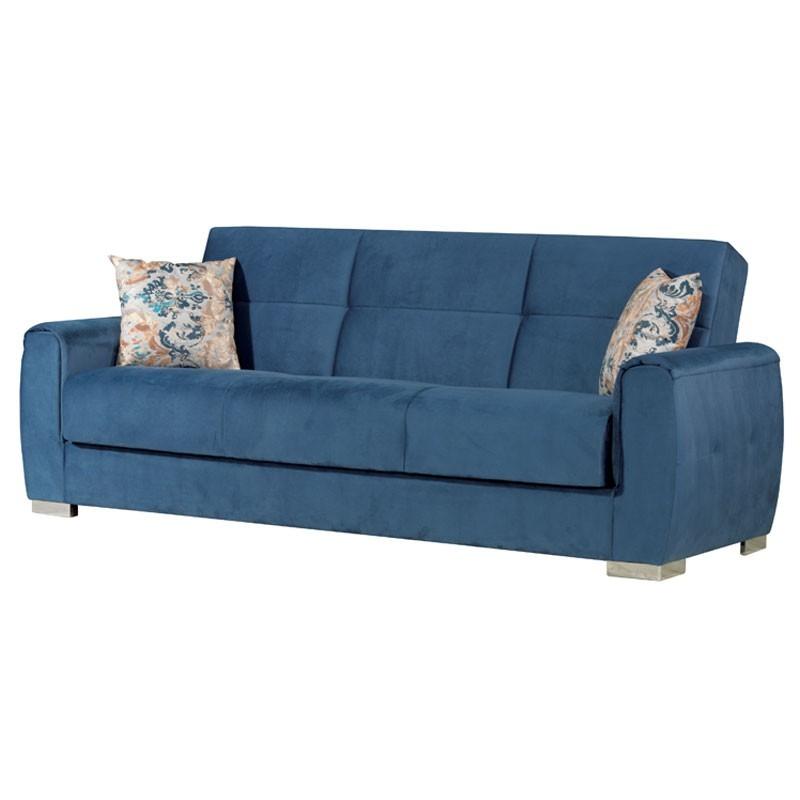 Divano letto 3 posti con contenitore in tessuto colore Blu Navy 221x91xh 86 cm
