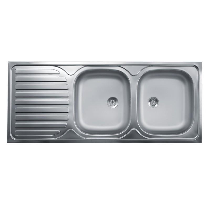 Lavello cucina due vasche con gocciolatoio sx acciaio da appoggio 5...