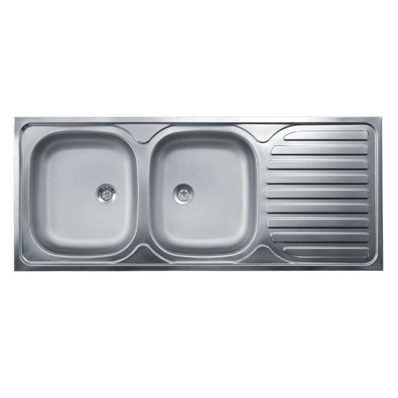 Lavello cucina due vasche con gocciolatoio dx acciaio da appoggio 5...