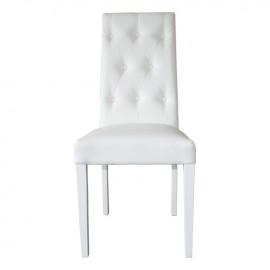 Sedia in legno imbottita in ecopelle bianca capitone'  48x47xh.101 cm