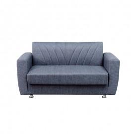 Divano letto 2 posti in tessuto grigio con contenitore 152x80xH.83 cm