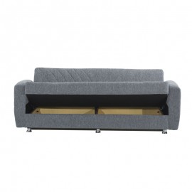 Divano letto 3 posti in tessuto grigio con contenitore 214x80xH.83 cm