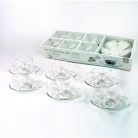 Set da 6 tazzine con piattino  in vetro trasparente