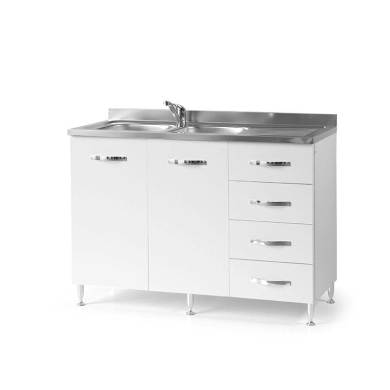 Sottolavello per cucina Bianco Frassinato 2 ante c/cassettiera DX Cm 120x50xH 85