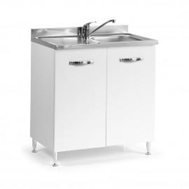 Sottolavello per cucina Bianco Frassinato 2 ante Cm 80x50xH 85