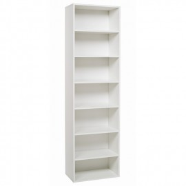 Libreria Bianco Frassinato in legno nobilitato  con 7 ripiani Cm 60x30xH 210