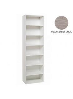 Libreria larice grigio in legno nobilitato  con 7 ripiani Cm 60x30xH 210