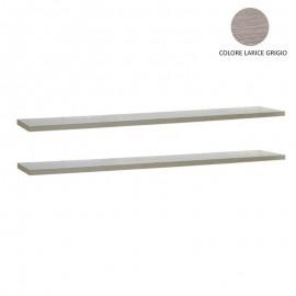 Coppia mensole larice grigio per arredo soggiorno  120x23cm