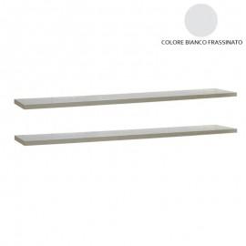 Coppia mensole bianco frassinato per arredo soggiorno  120x23cm