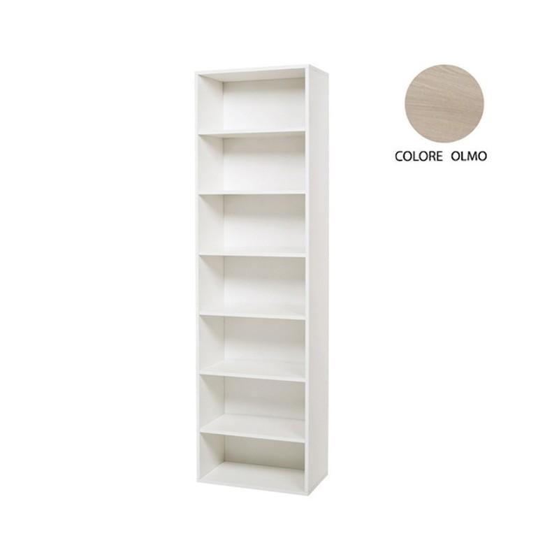 Libreria a colonna olmo in legno nobilitato con 7 ripiani Cm 60x30xH 210