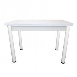 Tavolo in legno laminato colore bianco gambe tonde 70x110xh.76 cm