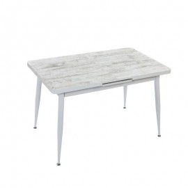 Tavolo allungabile in mdf  shabby struttura metallo bianco 120/150x75 cm