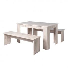 Set tavolo con panche da pranzo legno nobilitato rovere panca 140x80xh75 cm