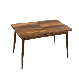 Tavolo allungabile in mdf  noce country  struttura metallo marrone 120/150x75 cm