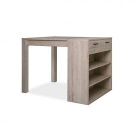 Tavolo bar con cassetto e ripiani colore rovere  120x90x90 cm