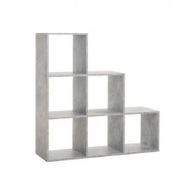 Libreria scaffale 6 scomparti colore cemento 116x33xh.118 cm