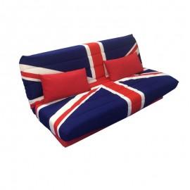 Divano letto Londra 3 posti con contenitore tessuto rosso e blu 190x89xh.90 cm