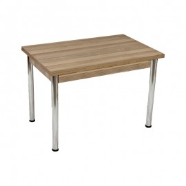 Tavolo in legno laminato colore olmo gambe in acciaio 70x110xh.76 cm