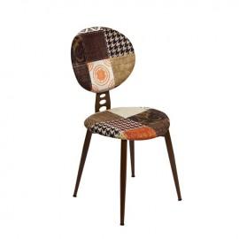 Sedia con struttura in metallo e seduta in tessuto fantasia 43x43xh.90 cm