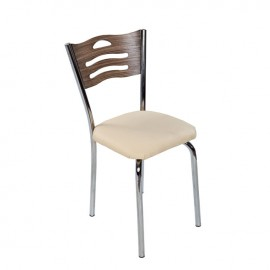 Sedia con struttura in metallo e seduta in ecopelle crema 42x42xh.85 cm