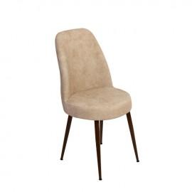 Sedia con struttura in metallo e seduta in ecopelle crema  45x45xh.94 cm