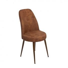 Sedia con struttura in metallo e seduta in ecopelle brown 45x45xh.94 cm