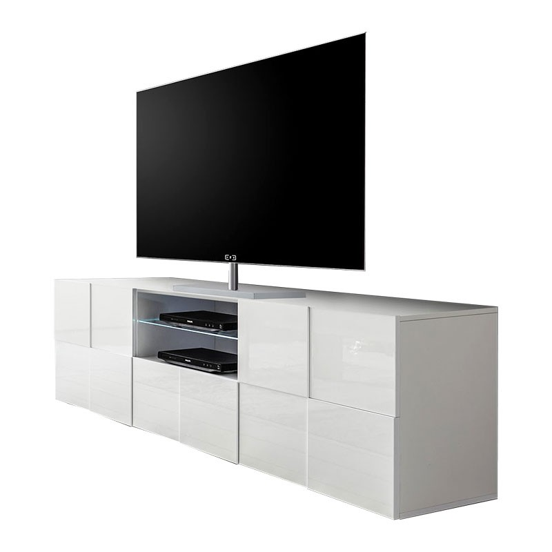 Porta Tv Bianco Lucido.Base Porta Tv 2 Ante 1 Cassetto Bianco Lucido L 181 P 42 H 57 Cm Webmarketpoint It