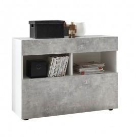 Mobile madia 1 cassetti 1 ribalta bianco/cemento  cm 111x42xh 82 cm