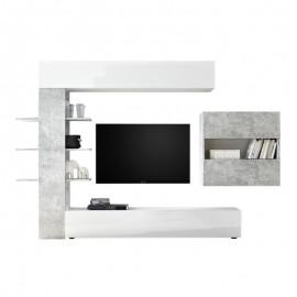 Parete attrezzata da soggiorno Bianco e cemento  L.295xP30xh.187 cm