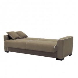 Divano letto 2 posti in tessuto grigio con contenitore 177x91xH.92 cm