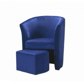 Poltrona imbottita rivestita in velluto blu e pouff estraibile 63.5x62.5xh.76 cm