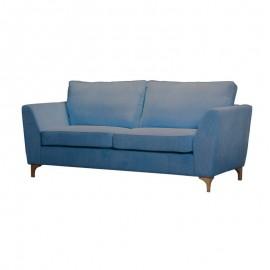 Divano 3 posti imbottito in velluto blu 200x86xh.92 cm
