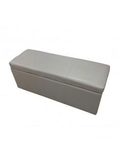 Panca contenitore con 3 pouff in ecopelle grigio chiaro 120x41xh.47 cm