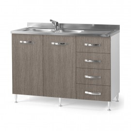 Sottolavello da cucina con cassettiera DX  larice grigio Cm 120x50xH 85