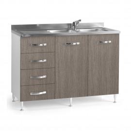 Sottolavello per cucina  larice grigio 2 ante c/cass. SX Cm 120x50xH 85