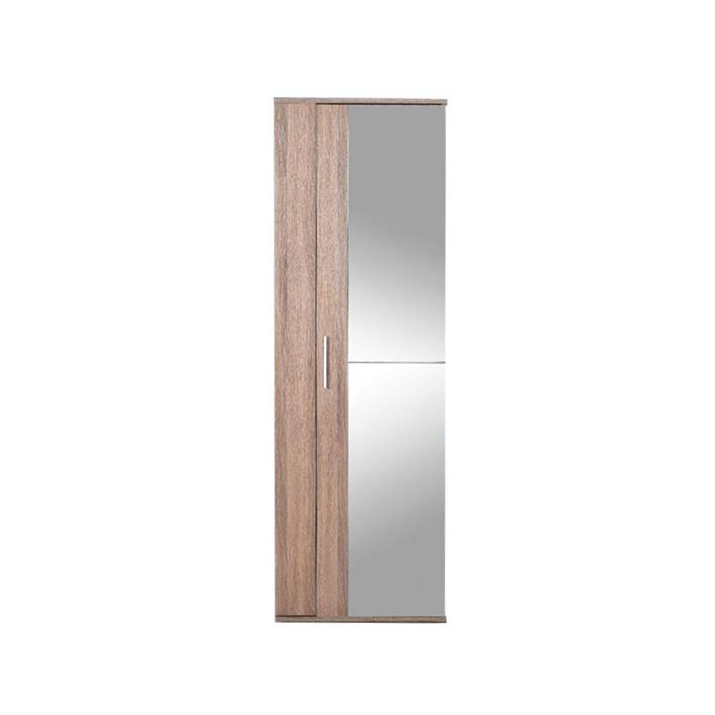 Scarpiera con anta in vetro a specchio rovere chiaro cm 60x36xh.187