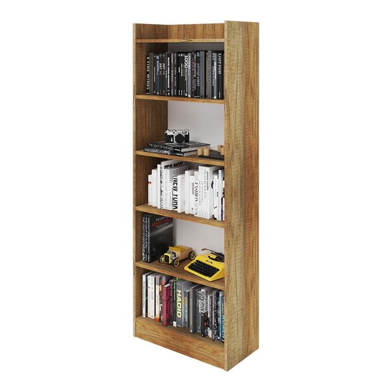 Mobile Libreria colore noce country 6 ripiani h. 180x64x29 cm