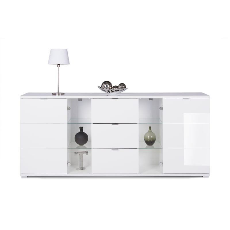 Mobile credenza 2 ante 3 cassetti colore bianco 200x40xh.85 cm