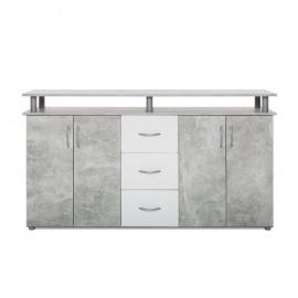 mobile-credenza-4-ante-3-cassetti-colore-cemento-bianco