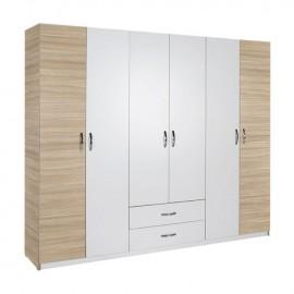 armadio-guardaroba-6-ante-cassetti-bianco-rovere