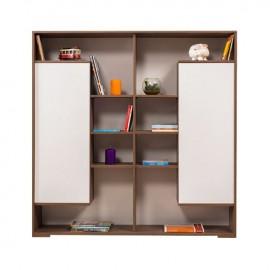 Mobile Libreria 2 ante bianco struttura noce 8 ripiani h. 153x150x32 cm