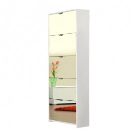 Scarpiera 5 ribalte a specchio struttura bianca 58x17xh.177 cm